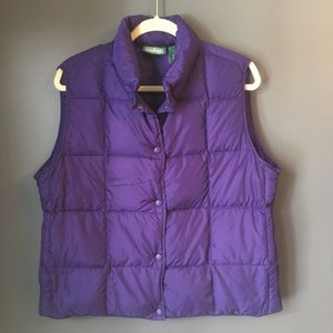 L.L. Bean Puffer Down Vest Button Purple